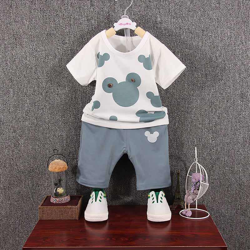 GUMPRUN Summer Children Clothing Cartoon Cute Boys Short Sleeved T-shirt Tops Shorts 2PCS Outfits Cotton Boys Casual Clothes