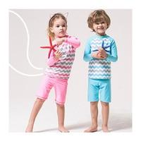 Plaj Kıyafeti İki Adet Boys Mayo Kız Uzun Kollu Çocuk Yüzme Suit için Mayo Küçük Çocuk Swim suit