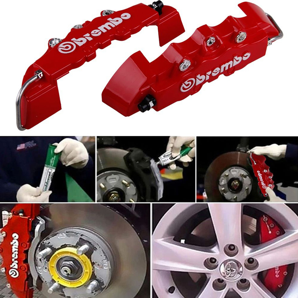 High Quality ABS Plastic Truck 3D Red Useful Car Universal Disc Brake Caliper Covers Front Rear