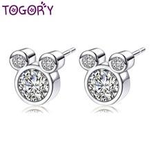 e745a651a TOGORY Fashion Cubic Zirconia Cute Mickey Pandora Stud Earrings For Women  Girls Brincos Austrian Crystal Earring Femme Jewelry