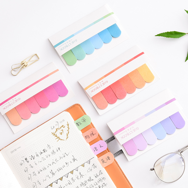 4 pcs Fresh rainbow color sticky note Mini index lable bookmark Post memo Stationery Office accessories School supplies A6966