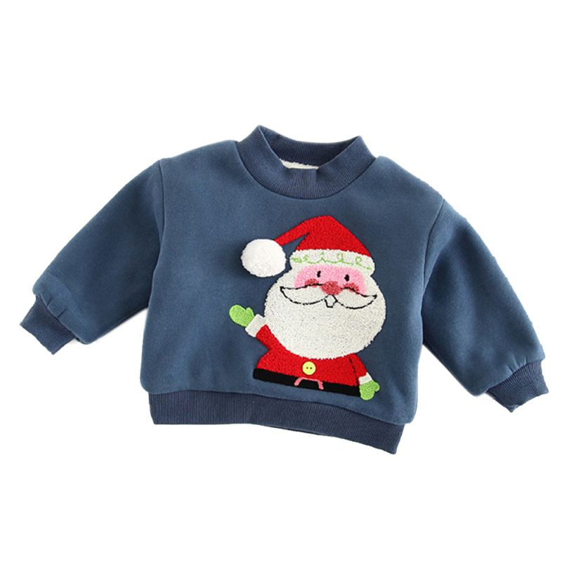 Baby Kids Boys Girls Thermal Sweatshirts Long Sleeve Pullover Shirt Tops Santa Christmas Tree Winter Warm Clothes