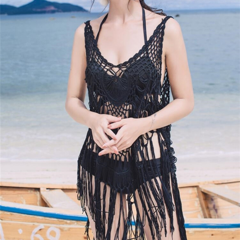 Women Brazilian Bikini cover Ups Swim Bathing Suit Solid Black Crochet Tassel Bikini Tassel Hollow Swimwear Cover Up Beach Dress