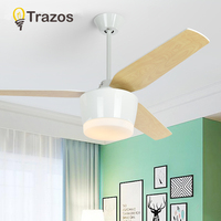 TRAZOS Ceiling Fan Ventilador De Techo Simple Living Room Restaurant Wooden Cooling Ceiling Fans With LED Light Rated