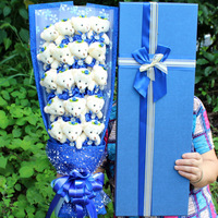 15 Style Kawaii Teddy Bear + Soap Flower Plush Toy For Girl Bear Dolls Cartoon Flower Bouquet Valentine Graduation Birthday Gift
