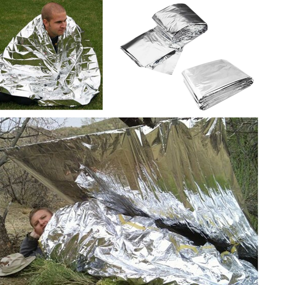 Outdoor Survival Blanket For Camping Waterproof Emergency Rescue Life-saving Cold-proof Military First Aid Emergency Blanket 1pc folding outdoor military emergency survival foil thermal rescue blanket shelter insulation curtain life saving blanket