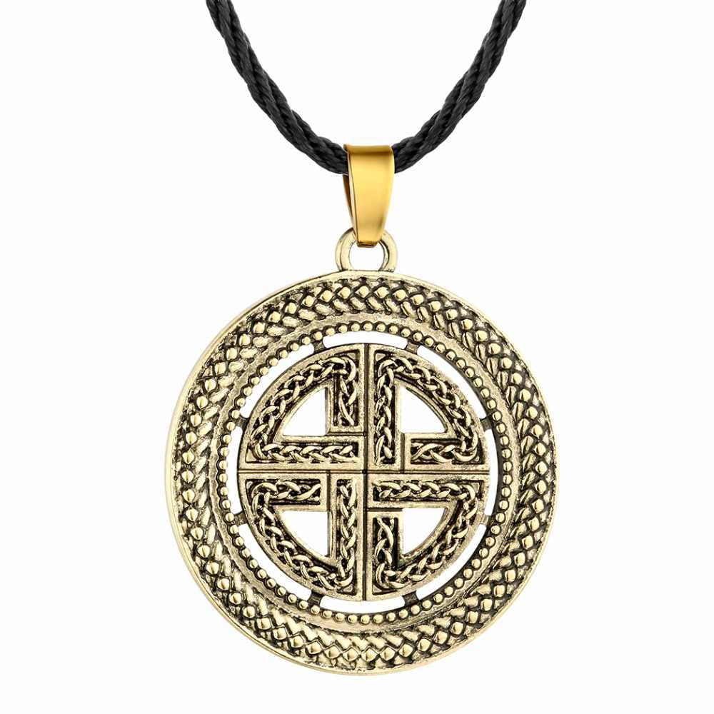 QIMING Nordic Viking Men Necklace Women Slavic Symbol Amulets Kolovrat Antique Silver Cross Hammer Pendant Male Necklace Jewelry