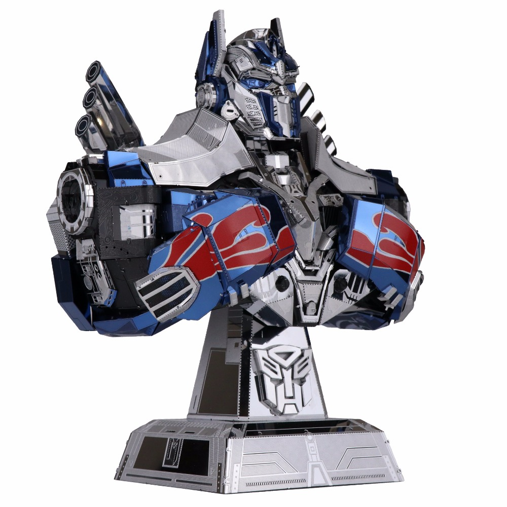 MU 3D Metal Puzzle Optimus Prime bust DIY Laser Cut puzzles Jigsaw Model For Adult kids Educational Toys Desktop decoration colorful god of war returns 3d metal puzzles model for adult kids manual jigsaw educational toys desktop display collection gift