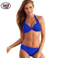 Sea Girl Bikinis Women Swimsuit Summer Beach Wear Push Up Bikini Set Halter Retro Vintage Bathing