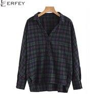 LERFEY Autumn Blouses Women Vintage Oversized Plaid Loose Shirts V Neck Casual Blouse Retro Female Tops