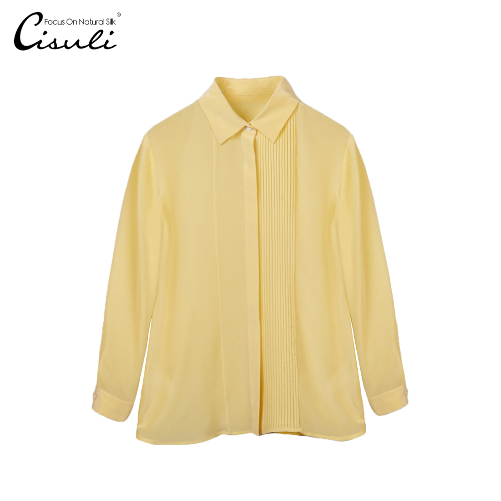 100 Mulberry Silk Blouses Sleeve Long Tops Crepe Office Ladies Shirt Plus Size S 5XL Yellow
