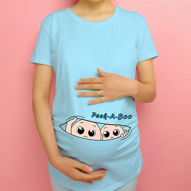 207af165de28f New women maternity tops pregnancy funny clothes twins peek a boo pregnant t -shirt cotton