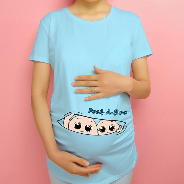 6a22348f45c Nouveau femmes hauts de maternité grossesse drôle vêtements jumeaux peek a  boo enceinte t-shirt