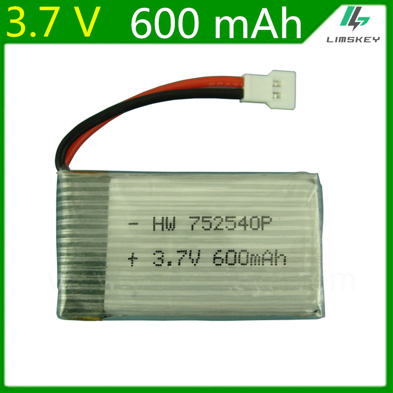 3.7V 600mAH Remote quadrocopter Lipo battery For Syma X5C lipo battery 3.7V 600mAH XH plug 752540 1S Lipo battery 1pcs/lot image