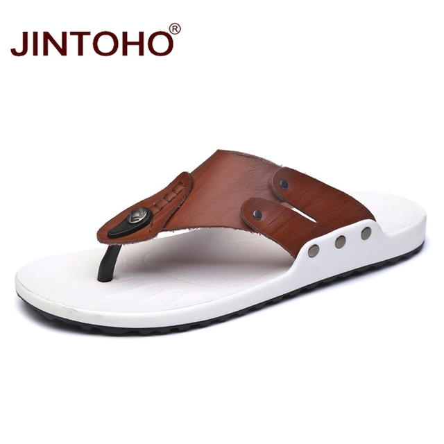 9264036ef218 JINTOHO High Quality Genuine Leather Men Slippers Flip Flops Slippers For  Men Casual Male Beach Slippers