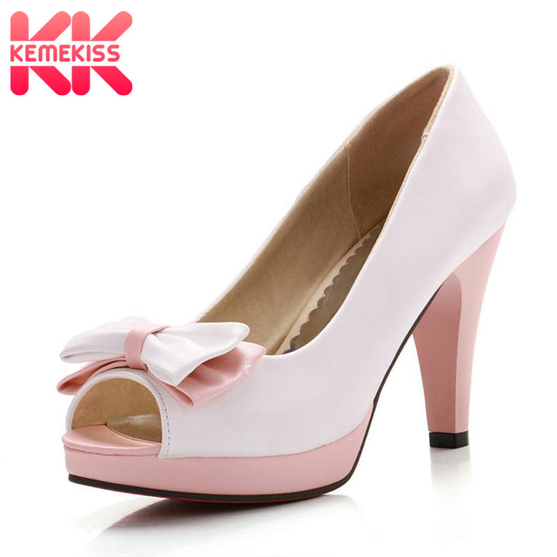 KemeKiss Woman Peep Toe High Heel Shoes Platform Sexy Ladies Dress Shoes Women Wedding Pumps Heeled Footwear Size 33-43 PA00528 2017 new womens pumps peep toe 10cm sexy high heel platform shoes woman single shoes office lady shoes wedding shoes