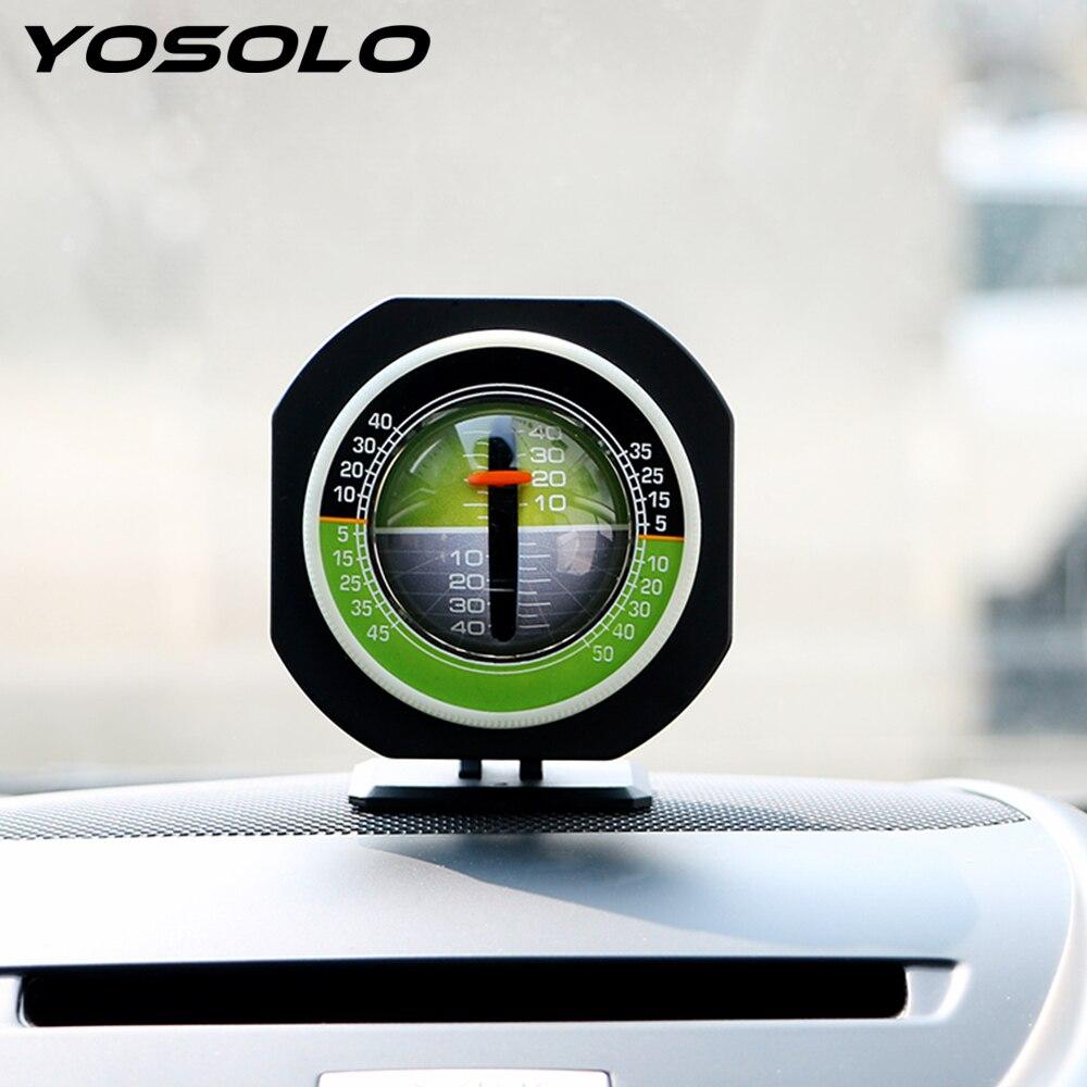 YOSOLO coche ornamento de alta precisión incorporado LED vehículo declinómetro gradiente inclinómetro ángulo Auto Metro pendiente nivel