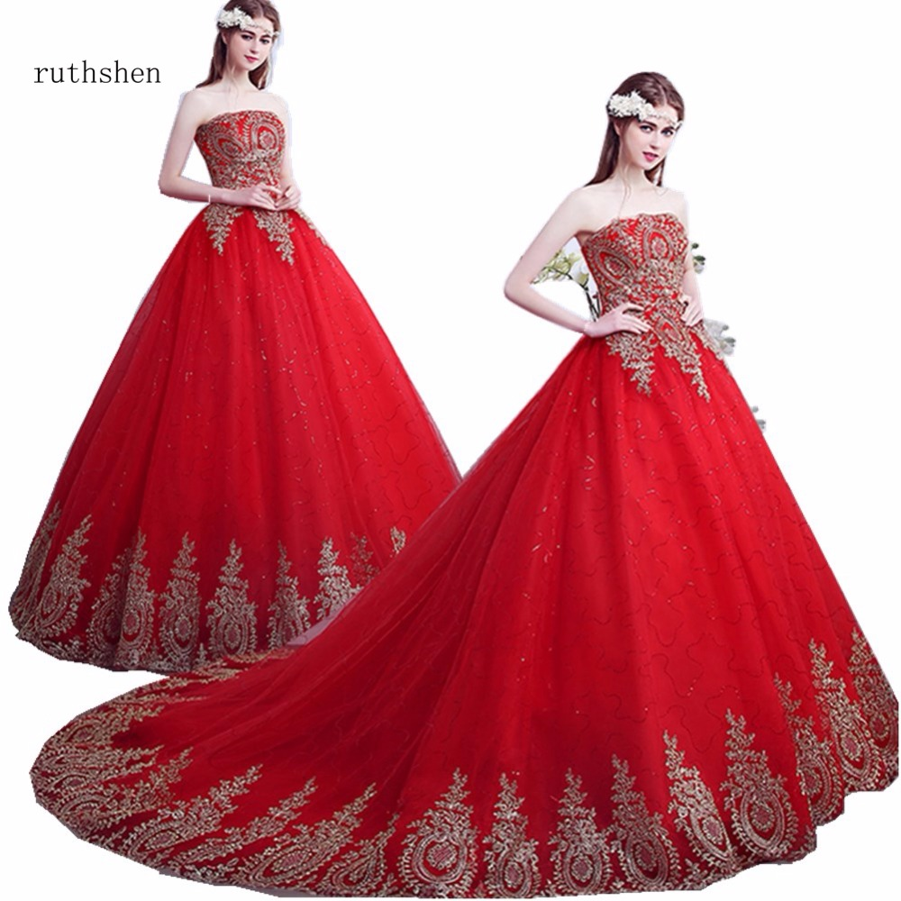 ruthshen Vestido de Noiva Strapless Red Ball Gown Vintage Wedding Dresses Lace Appliques Sequins Robe de
