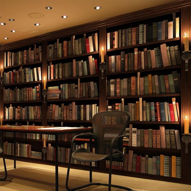 Customized European Retro Bookcase Books Murals Library Living Room  Wallpaper 3D Stereo Mural Bookcase Book Shelf