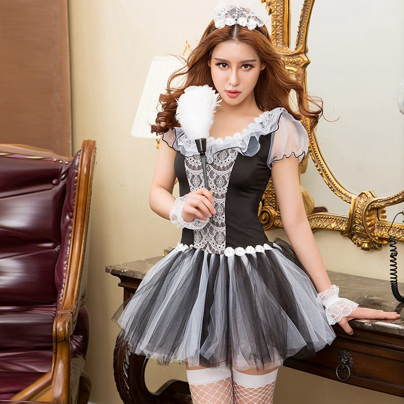 Erotic Costumes French Maid Hot Sexy Costume Seduction Maid Suit Porno Servant Dress Carnival Dress Outfit 6257