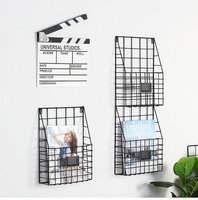 Nordic Decoration Home Wall Hanging Basket Storage Magazine Flower Basket Wall Grid Metal Wire Basket