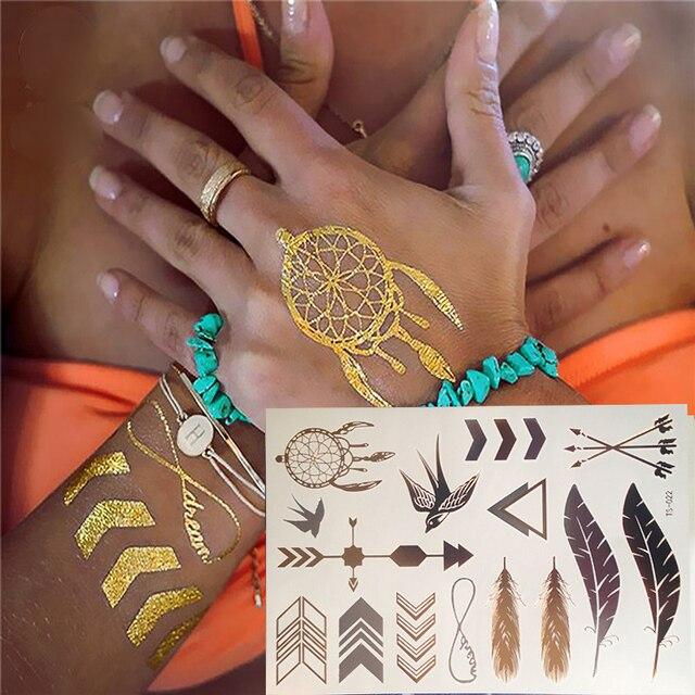 2017 New Flash Metallic Waterproof Tattoo Gold Silver Women Henna