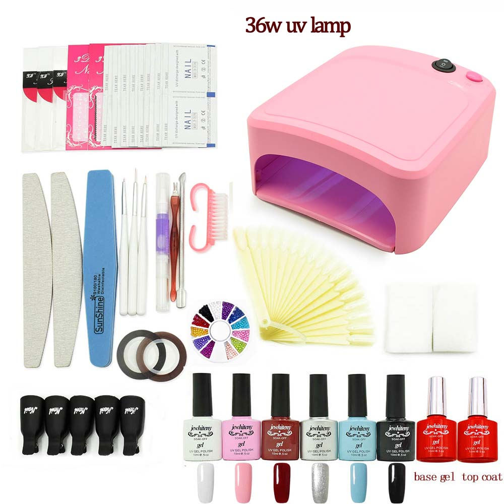 nail art manicure set Soak-off nail Gel polish Top & Base Coat gel varnishes nails polish kit UV LED lamp 6 colors art tools kit nail gel polish nail art manicure tools 36w uv lamp 6 color 7ml soak off gelpolish base top coat gel with remover practice set