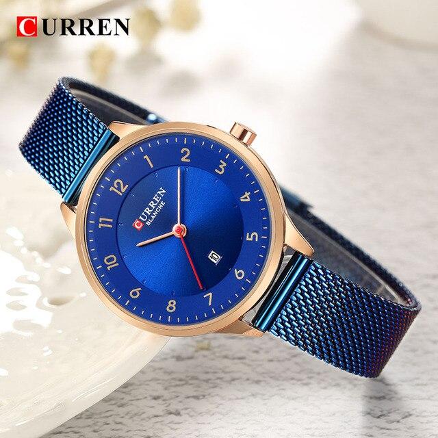 Curren שעון כחול זהב נשים שעונים אנלוגי קוורץ Ultra דק נירוסטה ספורט נשים שעונים עמיד למים גבירותיי שעון Saat