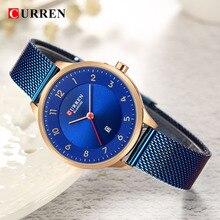 Curren relógio azul ouro mulher relógios analógico de quartzo ultra fino aço inoxidável esporte feminino relógios senhoras à prova dwaterproof água relógio saat
