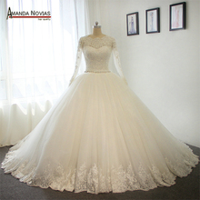 AMANDA NOVIAS Stunning Long Sleeves Ball Gown Wedding Dress