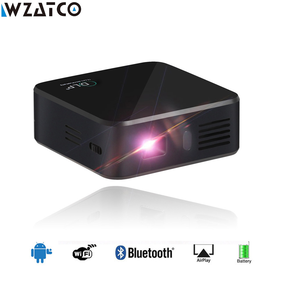 WZATCO CE05 Projector Smart Android 7.1.2 OS Portable Pocket Mini HD Projector Wifi LED 1080P DLP Home Theater Beamer Proyector