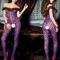 2016 Nueva Sexy erotic lingerie hot Body de Malla mujeres Purple Leopard medias Calcetería completo