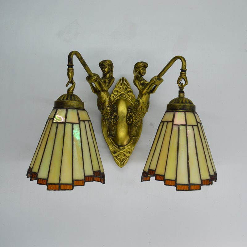 Tiffany Wall Lamp Modern Mirror Stair Bedroom Bathroom Decor Fixtures Mermaid Stained Glass Wall Sconce E27 110-240V