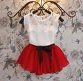 De La Muchacha del verano Vestido de Gasa de los Bebés Que Arropan el Cordón de Top + Skirt Outfit Niños Ropa Niños del Desgaste Del Niño de La Princesa vestido de Conjunto