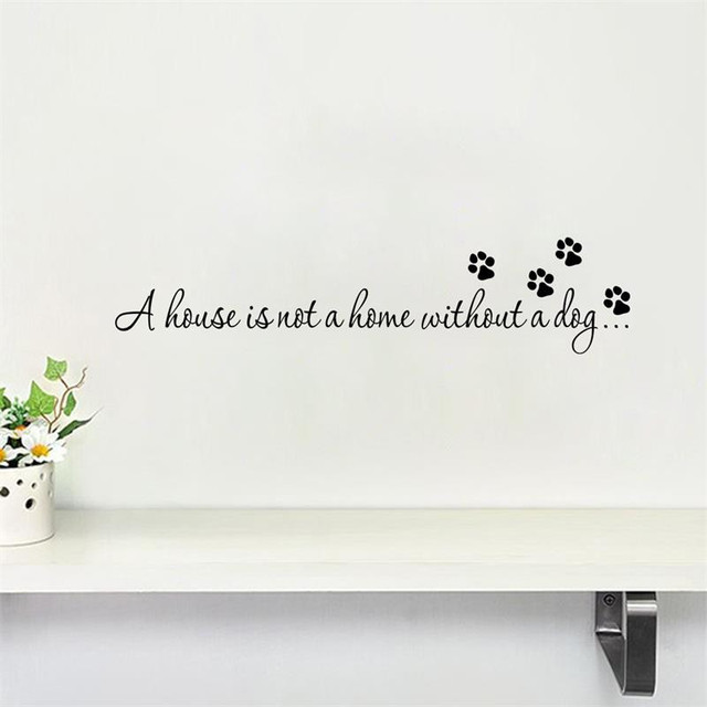 Funny dog paw print wall stickersremovable pet letters quotes decal for home decor