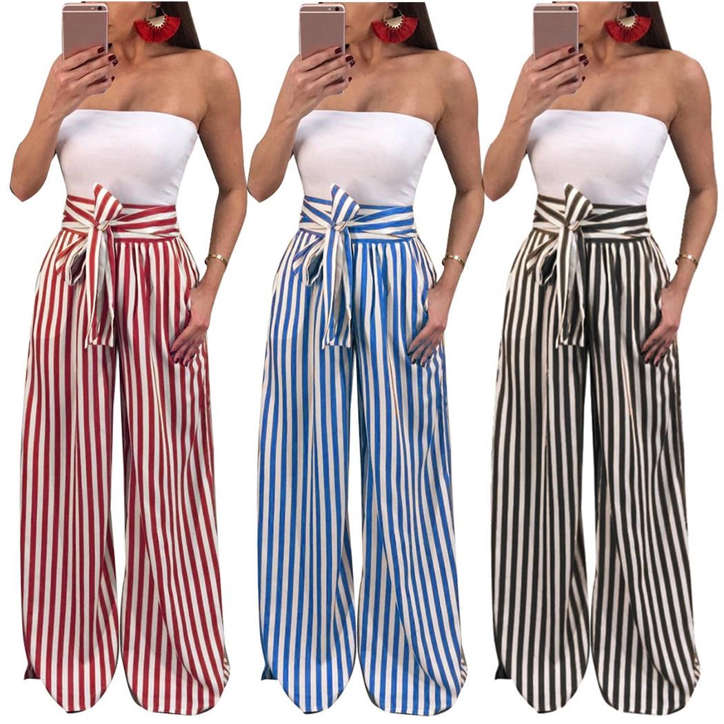 Women High Waist   Wide     Leg     Pants   2018 Fashion Striped Bow Tie Drawstring Long Trousers Elegant Loose Female   Pants   Pantalon Femme