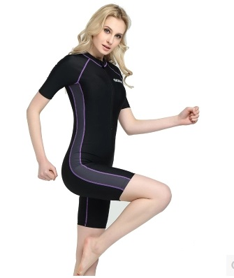 New Women Knee Length One Piece Swimsuit Plus Size Training Bathing Suit Professional Bodysuit Sexy Polyester Sport SurfingSuits ...
