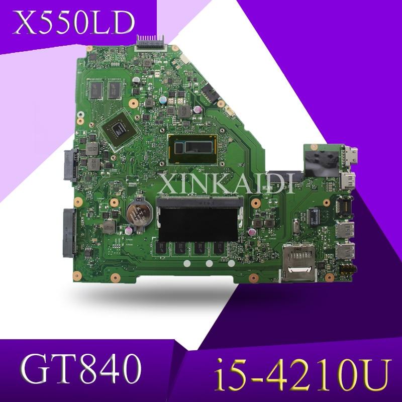 XinKaidi X550LN Motherboard GT840  I5-4210U For ASUS A550LN R510LN X550LN Laptop Motherboard X550LN Mainboard X550LN Motherboard