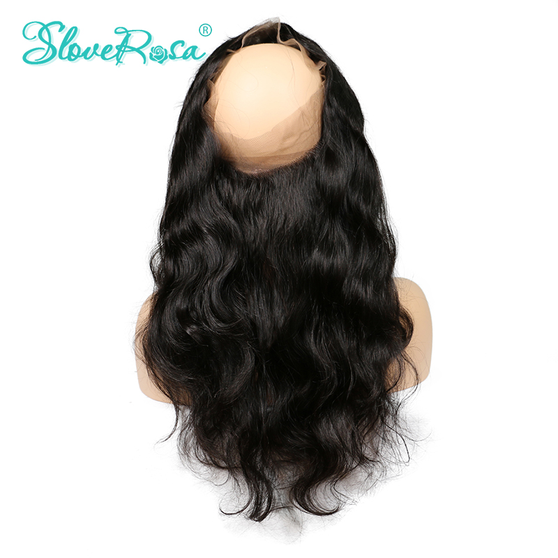 Slove Rosa Pre Plucked 360 Lace Frontal Closure Free Part Body Wave Brazilian Frontal Closure With