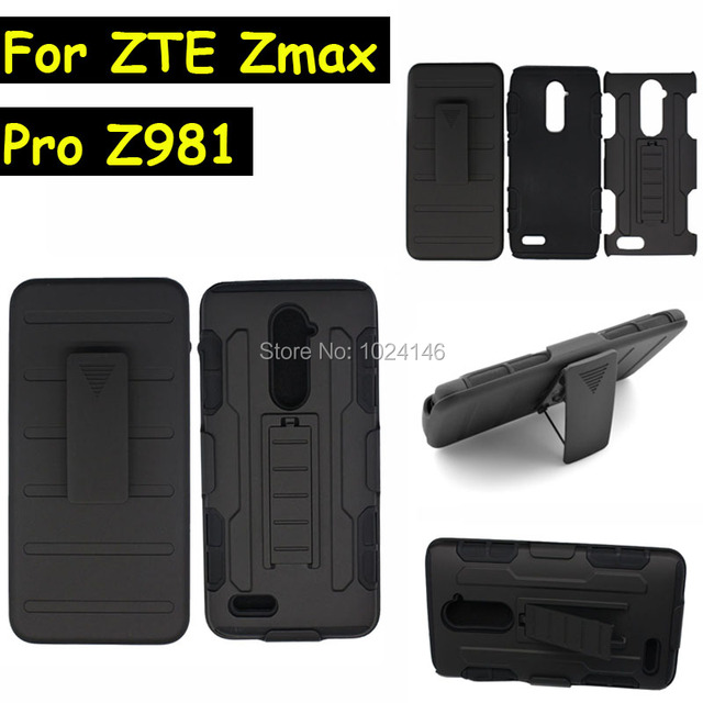 New Future Armor Heavy Duty Rugged Belt Clip Defender Stand Case For ZTE Zmax Pro Z981 Z988 6.0 Inch With Kickstand Cover