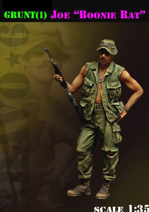 1/35 Vietnam War Summer Boonie Rat Soldier Stand   Toy Resin Model Miniature Resin Figure Unassembly Unpainted