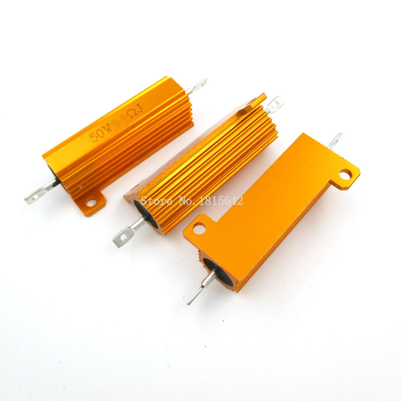 RX24 50W 200R 200RJ Metal Aluminum Case High Power Resistor Golden Metal Shell Case Heatsink Resistance