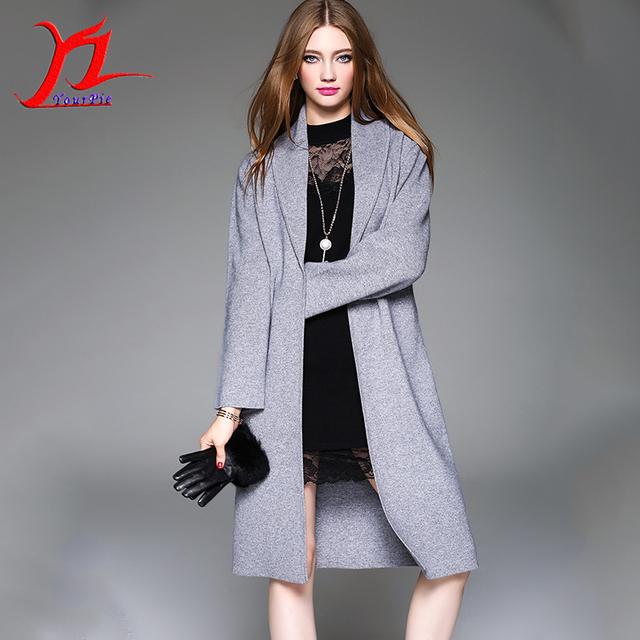 Hot Outono Inverno Mulheres Bolso Europeia Midi Padrão Prendedor Moda Malhas Desgaste Exterior Turn-down casaco Cardigan Cor Sólida