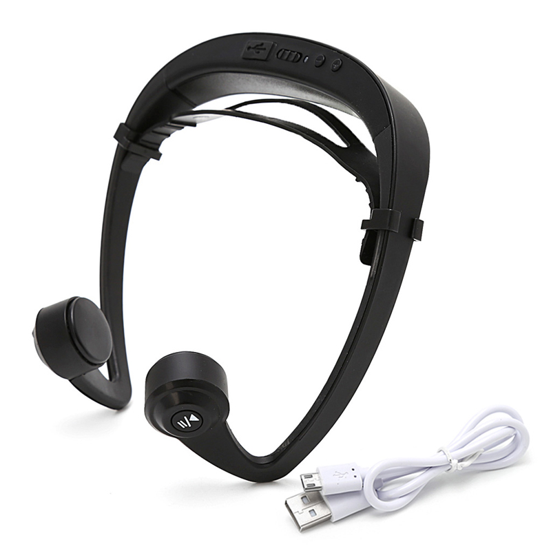 OOTDTY V9 Ear Hook Bone Conduction Bluetooth 4.2 Sports Headphone Headset With Mic bluetooth headset v9 ear hook bone conduction sport headphone with mic adjustable headband for android ios smartphone usb charge