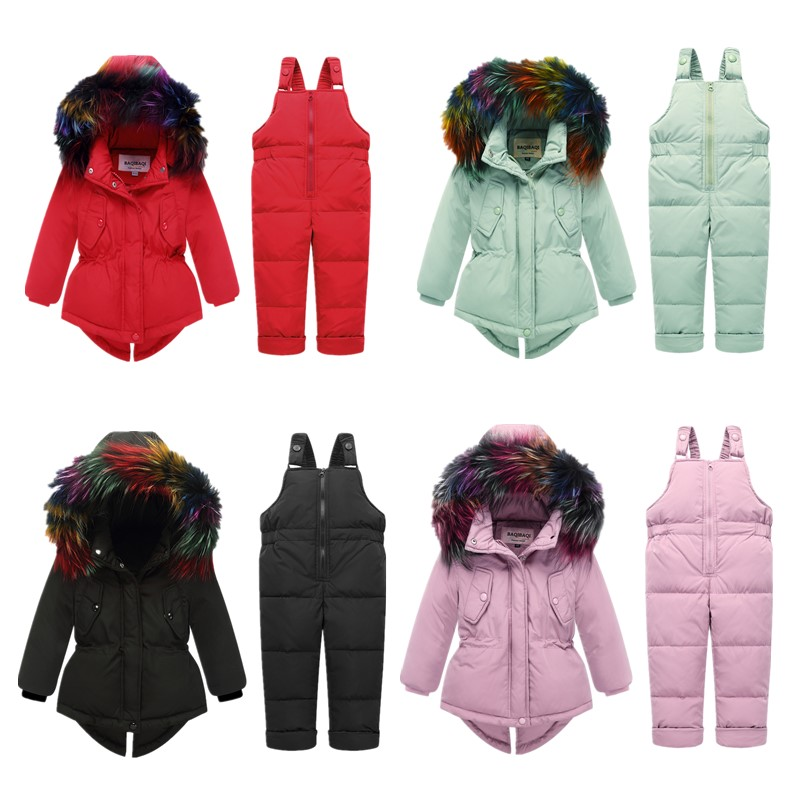 Winter Baby Boys Girls Duck Down Jacket Children Fur Collar Cold Down Parkas Kids Russia Ski Set  30 Degrees Kids Clothes-in Down & Parkas from Mother & Kids    1