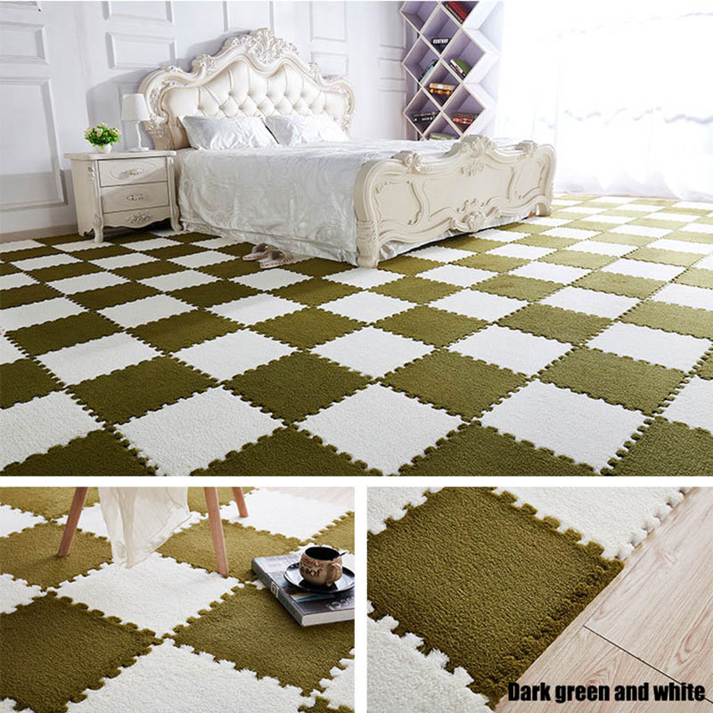 HTB1WH3VwIIrBKNjSZK9q6ygoVXaL 10Pcs/1Set 30*30*1cm EVA Plush Puzzle play mats Foam Shaggy Velvet Carpet Decorative Kids Room for Crawling Play Toys 9-Colors