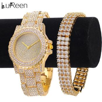 Lureen Luxury Gold Quartz Watch For Men 3 row Tennis CZ Bracelet Watch Wristband Jewelry Set Gift W0011