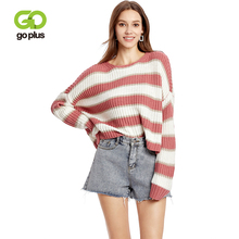 GOPLUS New Fashion Thin Striped Knitted Women Pullover Batwing Sleeve Befree O Neck Sweater Ladies 2019 Casual Blouse Female Top striped batwing sleeve blouse
