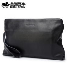 BISON DENIM Brand 2017 New Handbag Men Genuine Leather Business Large Capacity Clutch Bag Cowhide Purse