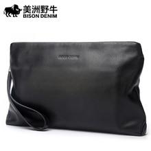 BISON DENIM Brand 2017 New Handbag Men Genuine Leather Business Large Capacity Clutch Bag Cowhide Purse Brand Men's Bag Wallet